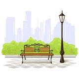 Bench and streetlight on city background Royalty Free Stock Images