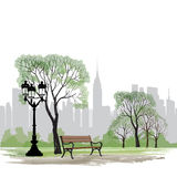 Bench and streetlight in park over city background.  Landscape Royalty Free Stock Images