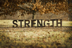 A bench of strength in the fall. An inspirational message bench with the word STRENGTH spelled out in the fall leaves royalty free stock photo