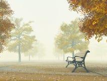 Bench sul percorso di autunno Illustrazione di Stock