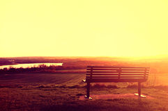 Bench And Sundown. Stock Photos