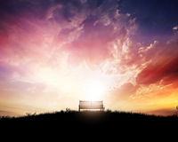 Bench at sunset Royalty Free Stock Photography