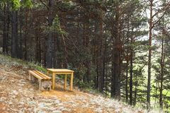 Bench and table on the edge of the cliff Royalty Free Stock Photography