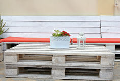 Bench and table from pallets Stock Images