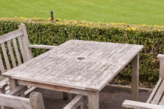 Bench and table in a park Royalty Free Stock Image
