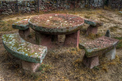 Bench Table. Stone Bench and Table in the castle D`Escornalbou In the province Tarragona-Spain stock photos