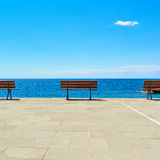 Bench, terrace and ocean, Ligury, Italy Royalty Free Stock Photography