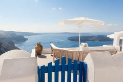 Bench on terrace overlooking Caldera of Santorini Greece Royalty Free Stock Photo