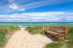 Bench to rest at the beach Royalty Free Stock Photos