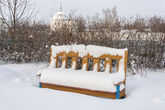 Bench to rest covered with snow Stock Photography