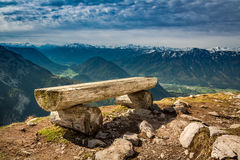 Bench in the top of the Loser peak, Alps Royalty Free Stock Images