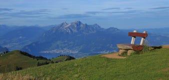 Bench on top of mount Rigi Stock Image