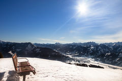 Bench. On top of the mountains at Ski resort Zell am See. Austria Stock Photo