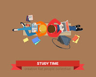 Bench top view students study time education laptop flat vector Stock Image