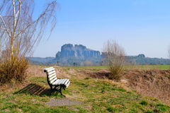Bench for tourists in Bastei National Park in Saxonian Switzerla Royalty Free Stock Photography
