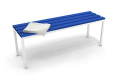 Bench. With a towel used in contest Scene Royalty Free Stock Photo