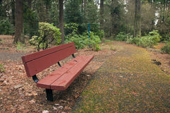 A bench and trail in a park, Portland OR. Royalty Free Stock Photos