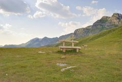 Bench for travelers in the Durmitor. Stock Photography