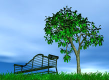 Bench and tree. Metallic bench under a lonely standing tree on a background cloudy sky Stock Images