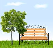 Bench with tree and grass. Vector illustration Stock Photo