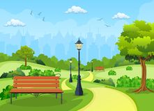 Bench with tree and lantern in the Park. Vector illustration in flat style royalty free illustration