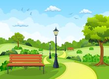 Bench with tree and lantern in the Park. Vector illustration in flat style vector illustration