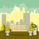 Bench with tree in the park. Flat style vector illustration Royalty Free Stock Photo