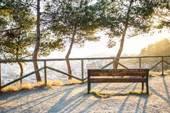 Bench and trees with views at the city over Barcelona during sunset. And sun rays stock photos