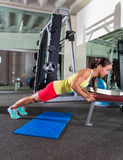 Bench triceps push up woman at gym Royalty Free Stock Image
