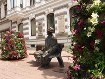 Bench Tuwima. Statue of the famous Polish poet Julian Tuwima on the main street of Lodz-Piotrowska Royalty Free Stock Photos