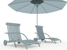 Bench and umbrella Royalty Free Stock Images