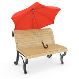 Bench and umbrella Royalty Free Stock Photography