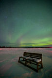 Bench under Northern Lights Royalty Free Stock Photography