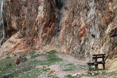 Bench under slope of  Wildenauersteig, Hohe Wand Royalty Free Stock Photo