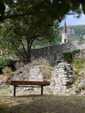 Bench under tree of Old Town Bar, Montenegro.  Stock Photos