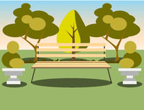 Bench under a tree in the park. Flat style vector illustration Stock Photo