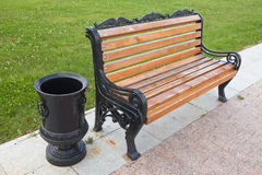 Bench with an urn Stock Photography