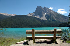 Bench with a view. Bech at Emerald lake, Yoho national park, Canada Royalty Free Stock Photography