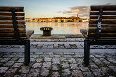 Bench view, Aalborg Harbor, Denmark Stock Image