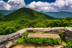 Bench and view of the Appalachians from Craggy Pinnacle. Near the Blue Ridge Parkway, North Carolina stock photo