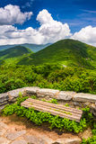 Bench and view of the Appalachians from Craggy Pinnacle Royalty Free Stock Photo
