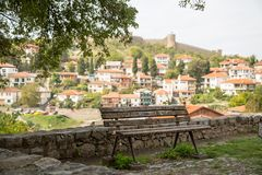 The bench. And view of city of Ohrid  in the Republic of Macedomia Royalty Free Stock Photos