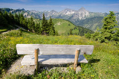 Bench with view on mountains Royalty Free Stock Image