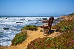 Bench with a view at ocean in Santa Cruz Stock Photos