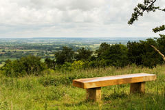 Bench with view over the Chilterns in Buckinghamshire Royalty Free Stock Photos
