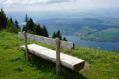 Bench with view in Swiss Alps Stock Photos