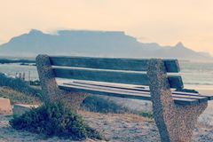 Bench with a view of table mountain in summer afternoon stock image