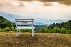 Bench of viewpoint. Viewpoint of 'Doi Inthanon', Bench for relax Royalty Free Stock Photos