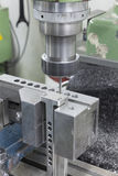 Bench vise lock some part. On Milling machine for drilling Stock Photo