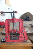 Bench vise on the table Stock Image